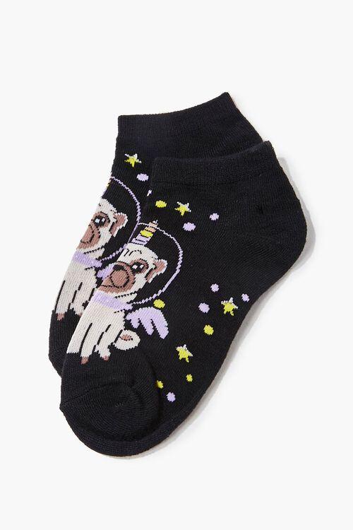 Girls Space Pug Ankle Socks (Kids), image 2
