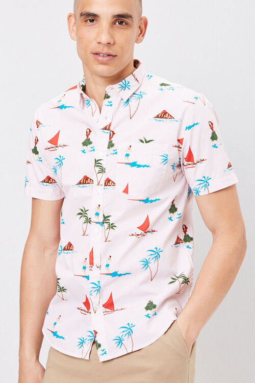 PINK/MULTI Fitted Pinstriped Tropical Shirt, image 1