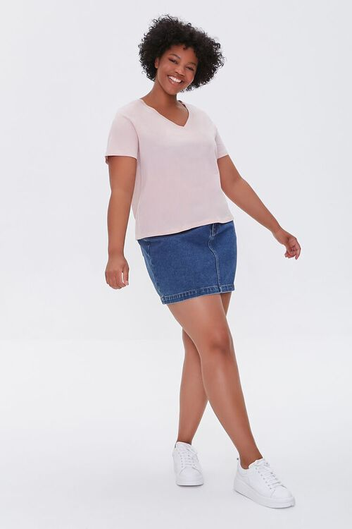 DUSTY PINK Plus Size Basic Organically Grown Cotton Tee, image 4