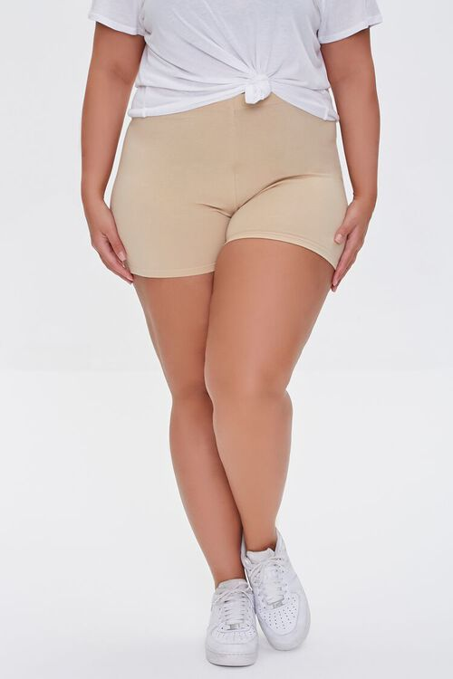 BEIGE Plus Size Basic Organically Grown Cotton Hot Shorts, image 2