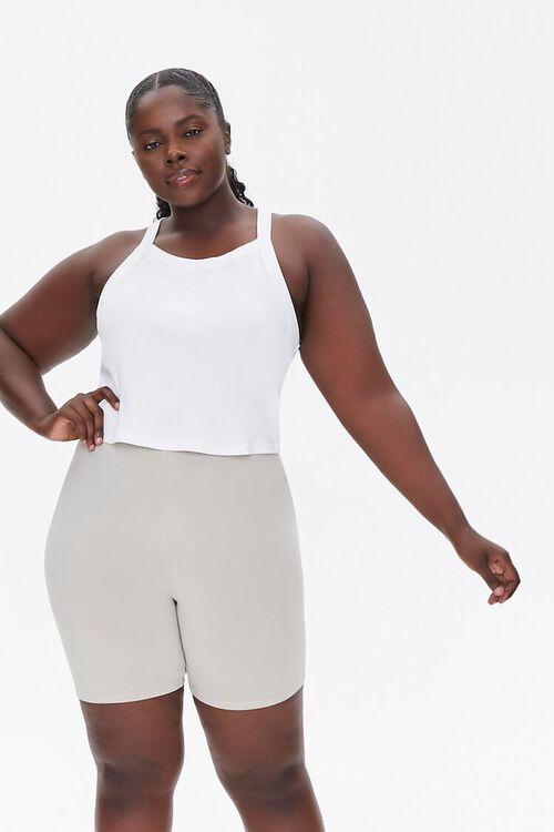NEUTRAL GREY Plus Size Basic Organically Grown Cotton Biker Shorts, image 1