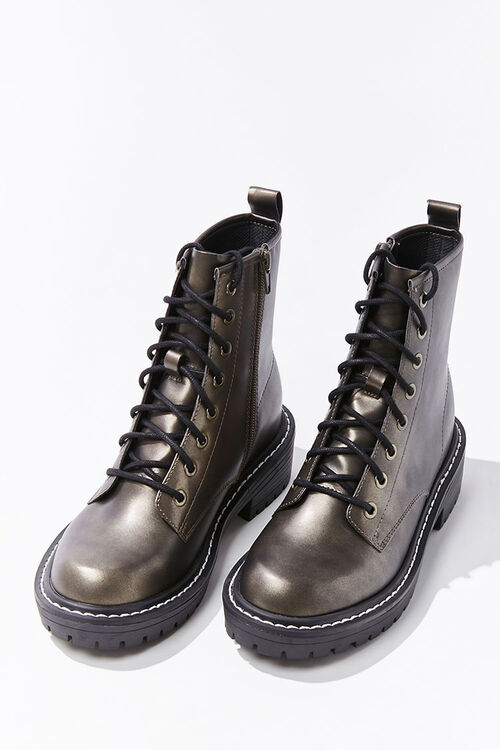 Faux Leather Lace-Up Booties, image 3