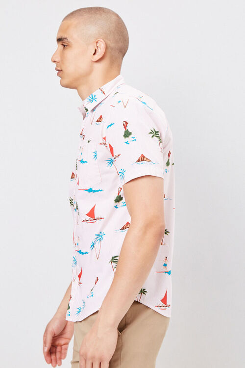 PINK/MULTI Fitted Pinstriped Tropical Shirt, image 2