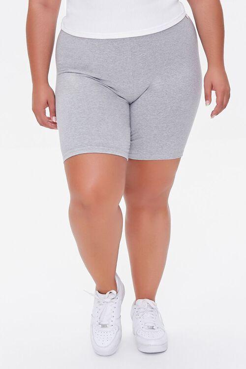HEATHER GREY Plus Size Basic Organically Grown Cotton Biker Shorts, image 2