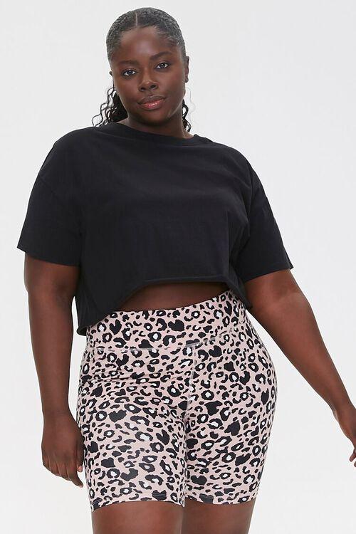 Plus Size Active Leopard Print Biker Shorts, image 1