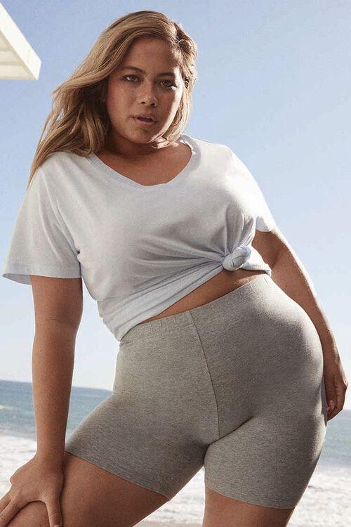 HEATHER GREY Plus Size Basic Organically Grown Cotton Biker Shorts, image 1