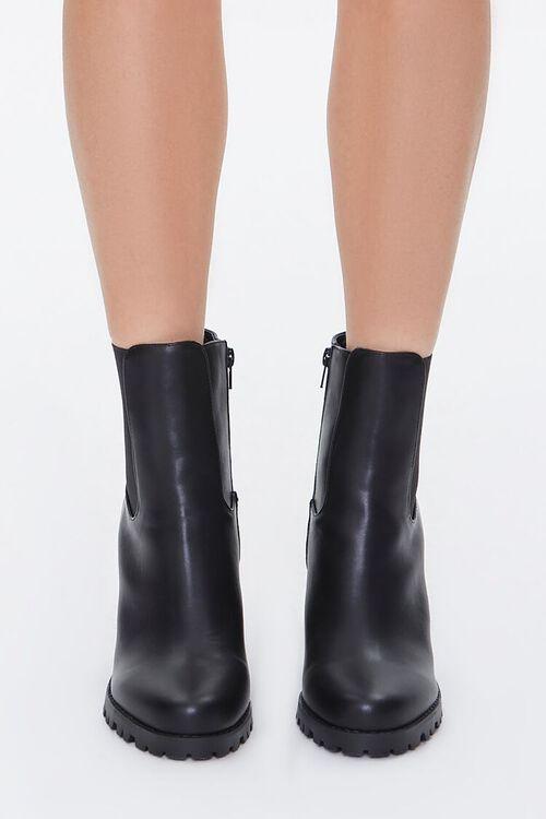 Faux Leather Block Heel Chelsea Booties, image 2