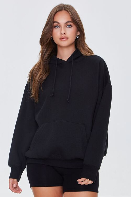 BLACK Fleece Drawstring Hoodie, image 1