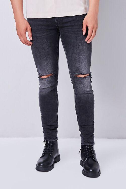 WASHED BLACK Premium Distressed Slim-Fit Jeans, image 1