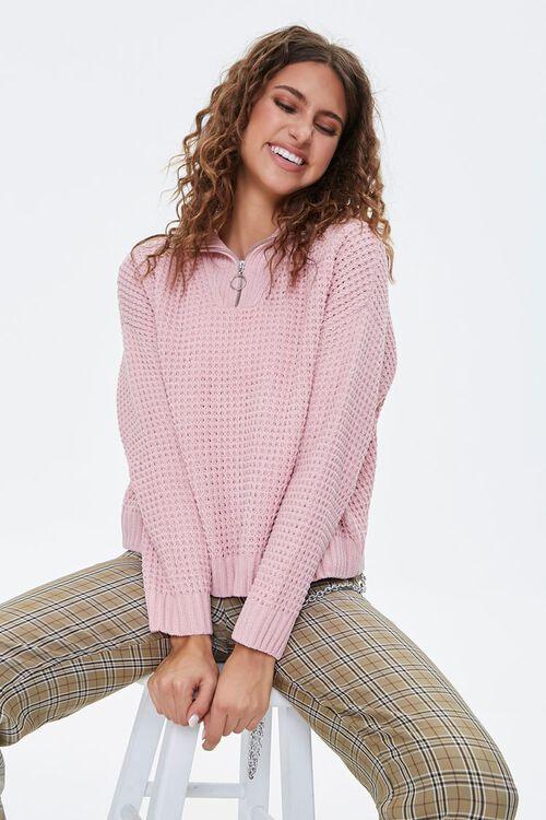 BLUSH Open-Knit Half-Zip Sweater, image 1