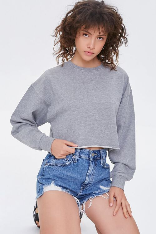 HEATHER GREY French Terry Drop-Sleeve Pullover, image 1