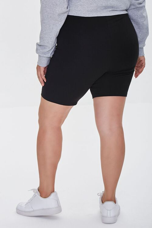 BLACK Plus Size Organically Grown Cotton Basic Biker Shorts, image 4