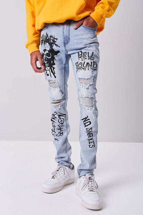 LIGHT DENIM/BLACK Skull Graphic Distressed Jeans, image 2