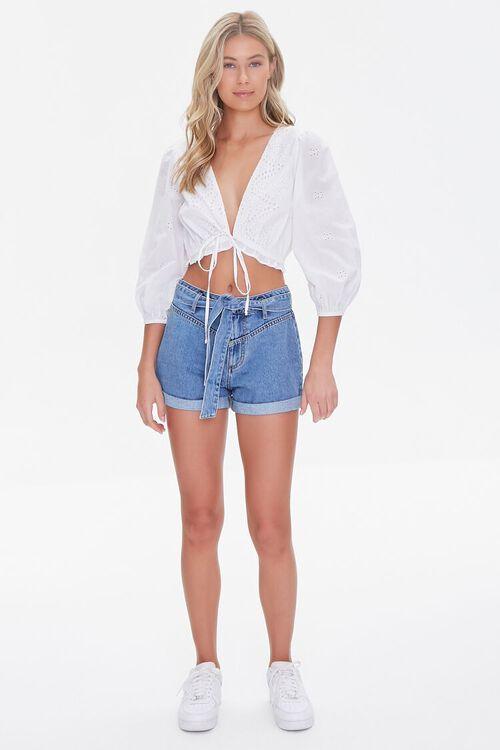 Tie-Belt Denim Shorts, image 5