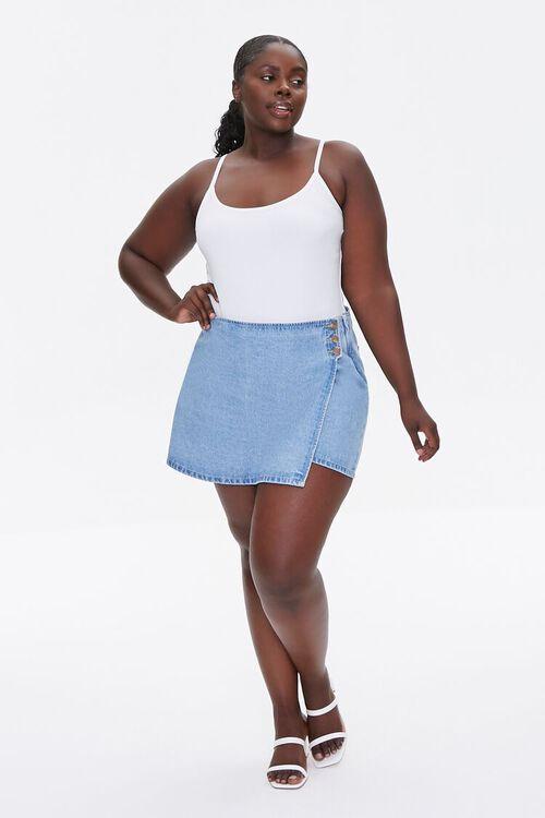 WHITE Plus Size Basic Organically Grown Cotton Bodysuit, image 4