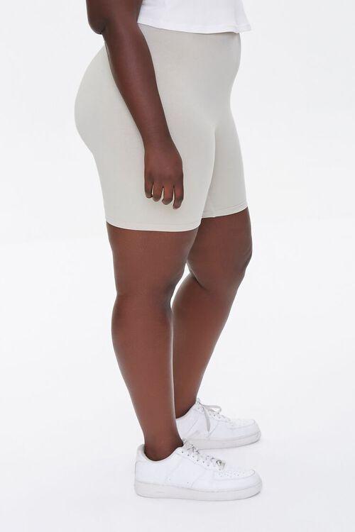 NEUTRAL GREY Plus Size Basic Organically Grown Cotton Biker Shorts, image 3
