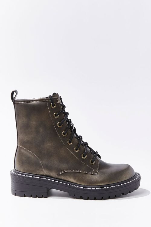 Faux Leather Lace-Up Booties, image 1