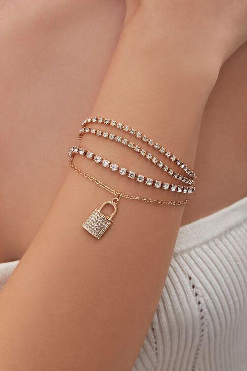 Lock Pendant Rhinestone Bracelet Set, image 1