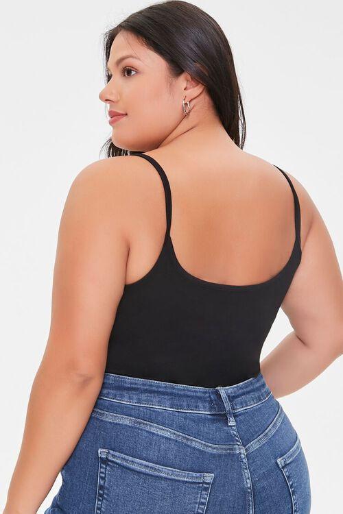 BLACK Plus Size Basic Organically Grown Cotton Bodysuit, image 3