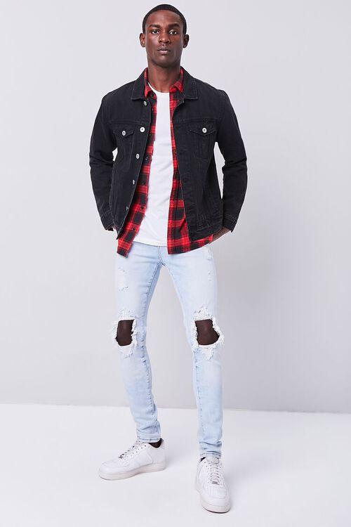 LIGHT DENIM Bleached Distressed Skinny Jeans, image 1