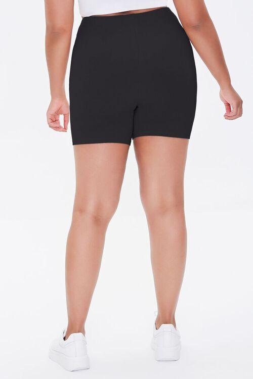 BLACK Plus Size Basic Organically Grown Cotton Biker Shorts, image 4