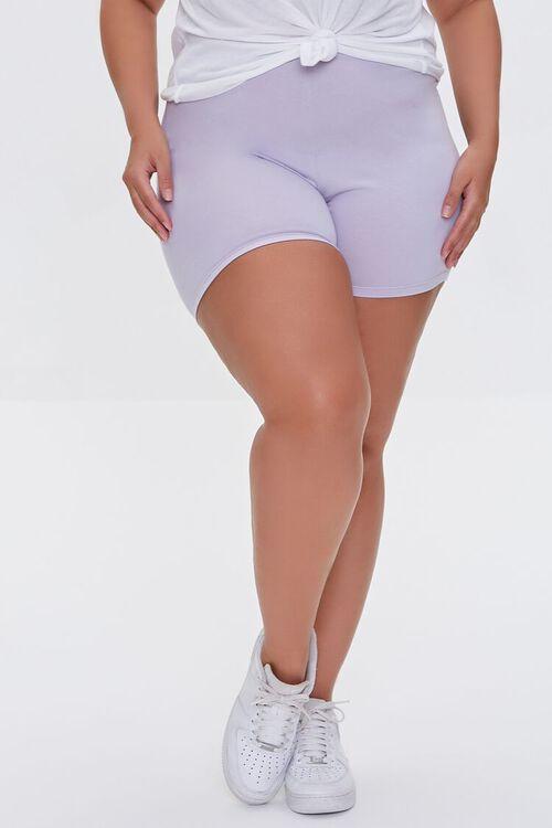 DUSTY LAVENDER Plus Size Basic Organically Grown Cotton Hot Shorts, image 2