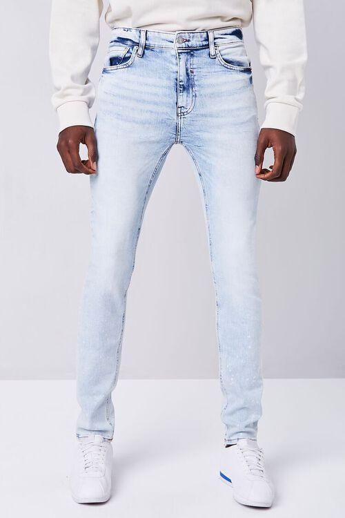 LIGHT DENIM Premium Paint Splatter Skinny Jeans, image 2