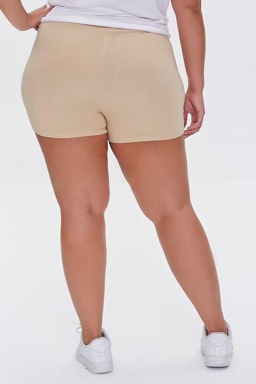 BEIGE Plus Size Basic Organically Grown Cotton Hot Shorts, image 4
