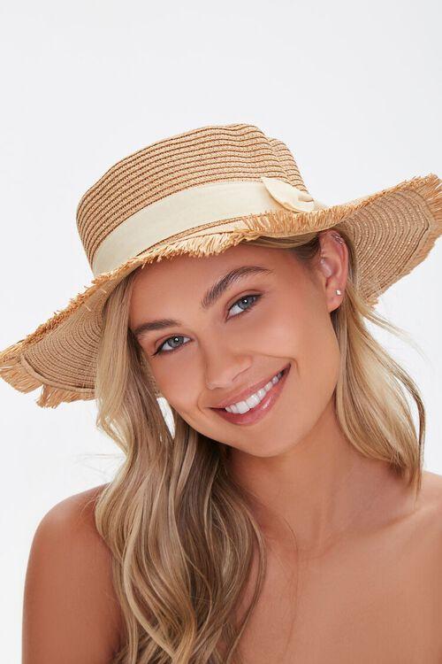 Frayed Straw Boater Hat, image 1