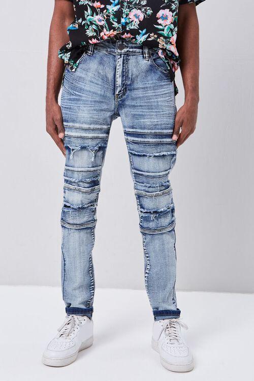 Paneled Distressed Slim-Fit Jeans, image 2