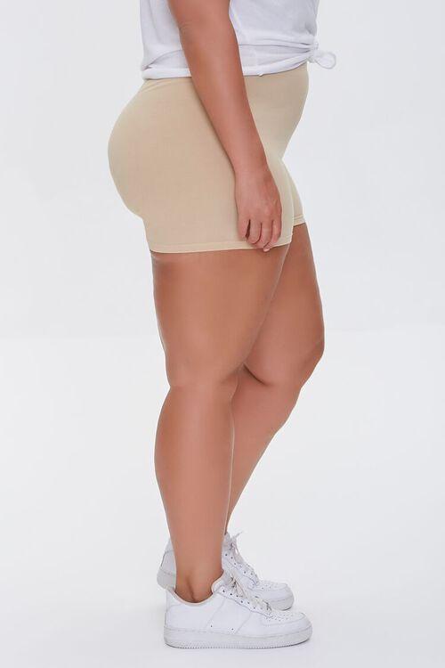 BEIGE Plus Size Basic Organically Grown Cotton Hot Shorts, image 3
