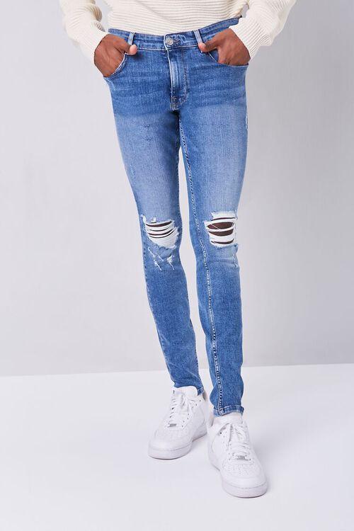 MEDIUM DENIM Premium Distressed Skinny Jeans, image 2