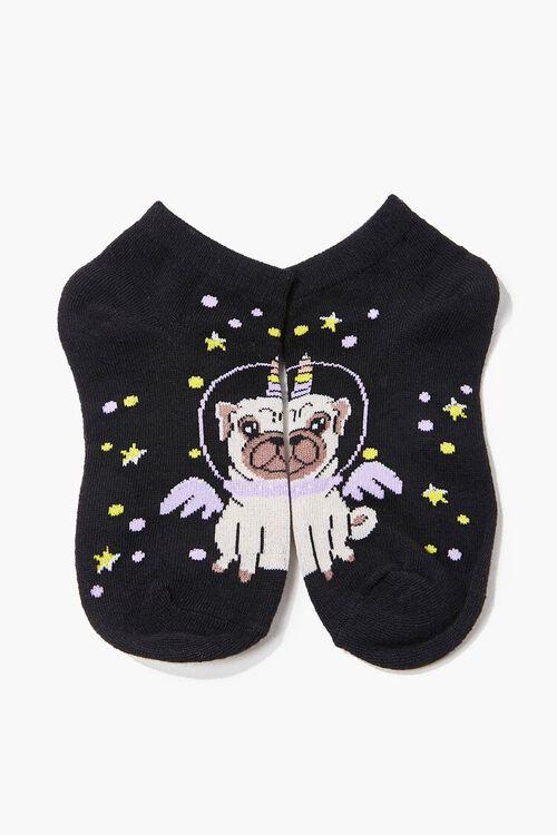 Girls Space Pug Ankle Socks (Kids), image 1