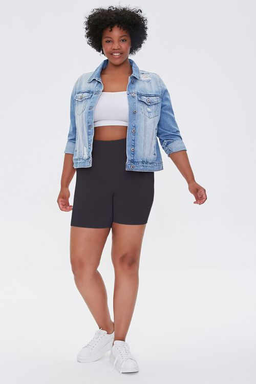 BLACK Plus Size Basic Organically Grown Cotton Biker Shorts, image 5