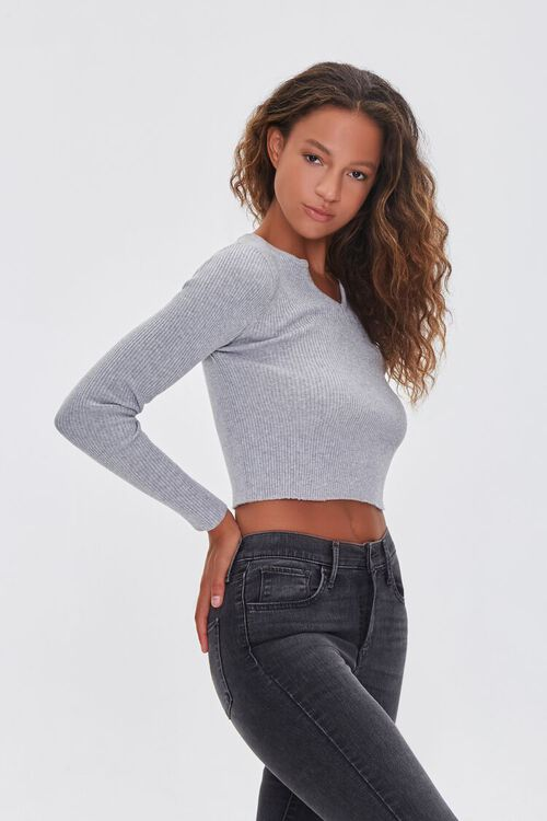 Ribbed Sweater-Knit Crop Top, image 2