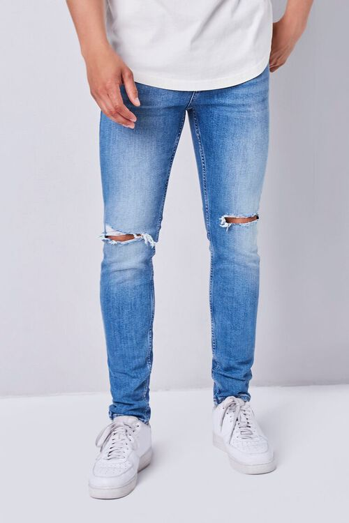 MEDIUM DENIM Premium Distressed Slim-Fit Jeans, image 1