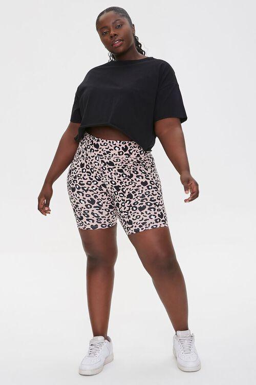 Plus Size Active Leopard Print Biker Shorts, image 5