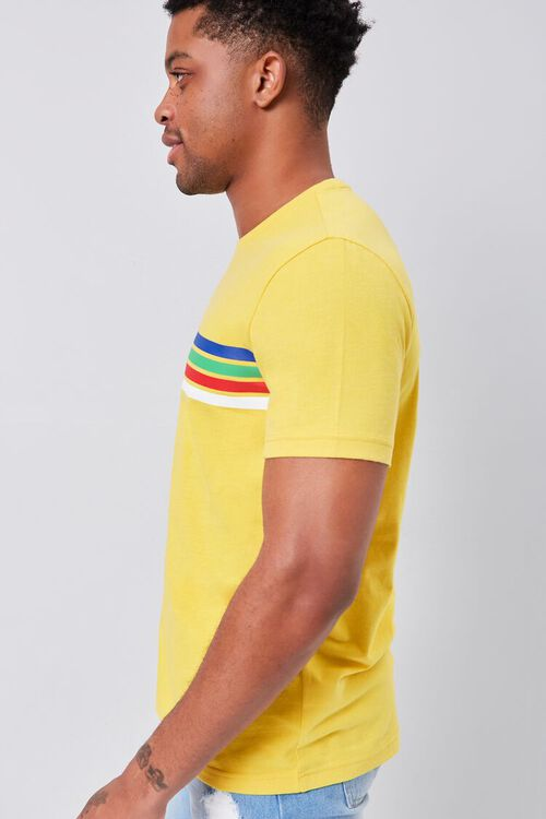 MUSTARD/BLUE Rainbow Striped-Trim Crew Neck Tee, image 2