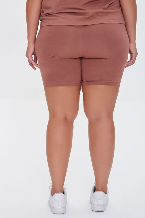 COGNAC Plus Size Organically Grown Cotton Biker Shorts, image 4
