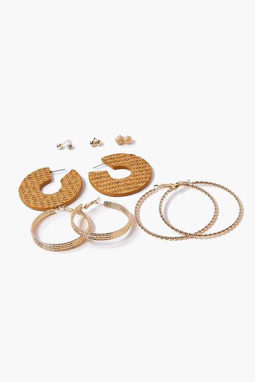 Basketwoven Hoop & Ball Stud Earring Set, image 1