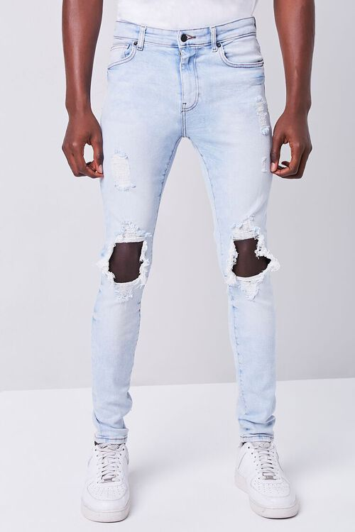 LIGHT DENIM Bleached Distressed Skinny Jeans, image 2