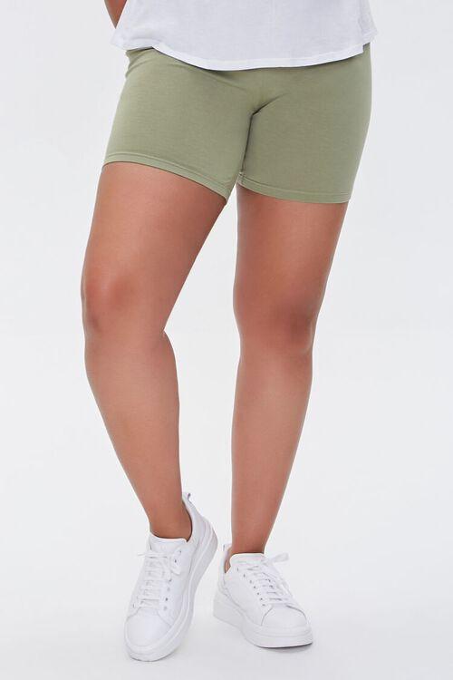OLIVE Plus Size Basic Organically Grown Cotton Biker Shorts, image 2