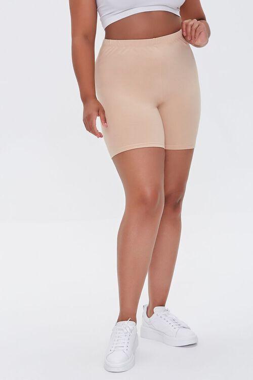 NUDE Plus Size Basic Organically Grown Cotton Biker Shorts, image 2