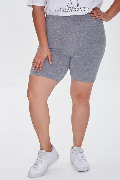 HEATHER GREY Plus Size Organically Grown Cotton Basic Biker Shorts, image 2