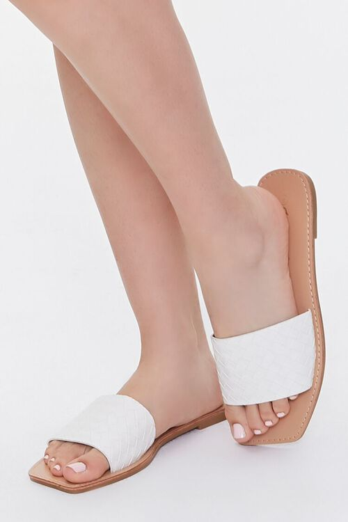 Basketwoven Square-Toe Sandals, image 1