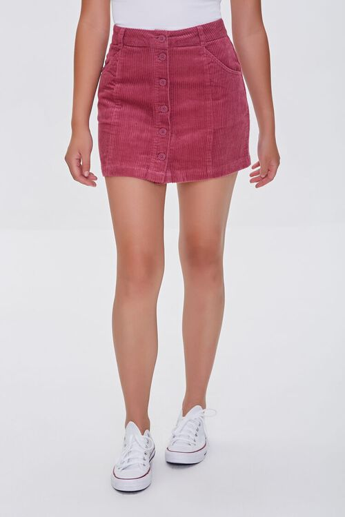 Corduroy Button-Front Mini Skirt, image 2