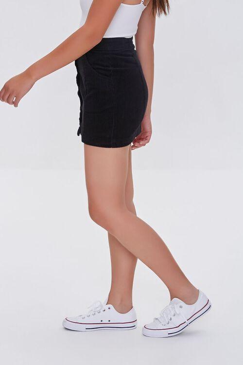 BLACK Corduroy Button-Front Mini Skirt, image 3