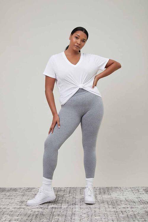 HEATHER GREY Plus Size Basic Organically Grown Cotton Leggings, image 1