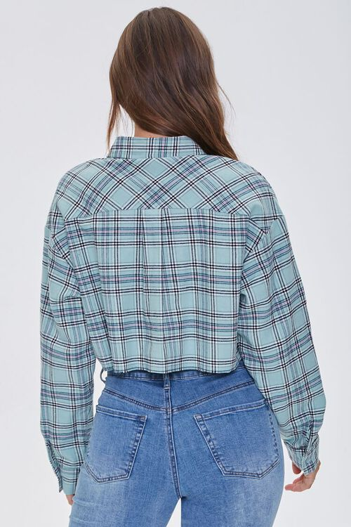 Raw-Cut Cropped Plaid Shirt, image 3
