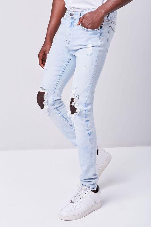 LIGHT DENIM Bleached Distressed Skinny Jeans, image 3